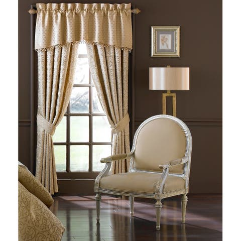 """Waterford, Anya Pale Gold Curtain Panel Pair - 50""""X84"""""""