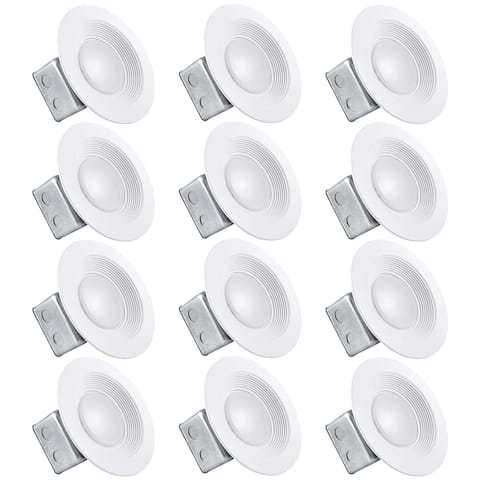 Luxrite 5/6 Inch LED Recessed Light with Junction Box, 15W, 1000 Lumens, Dimmable, IC & Wet Rated, 120V - 277V (12 Pack)