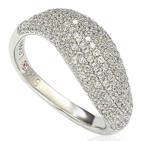 Suzy Levian Pave Cubic Zirconia Sterling Silver Bridal Ring - White