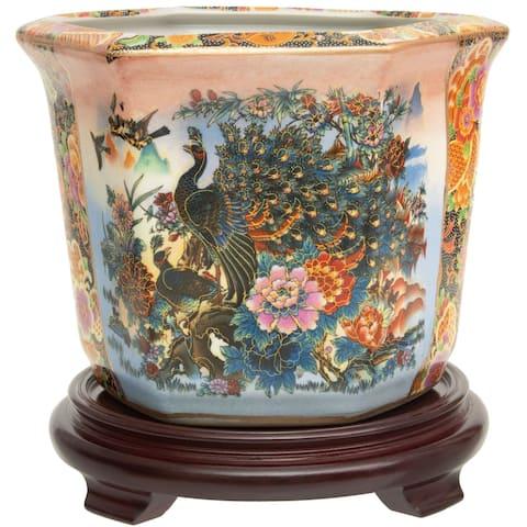 "Handmade 10"" Satsuma Garden and Porcelain Peacock Flower Pot"