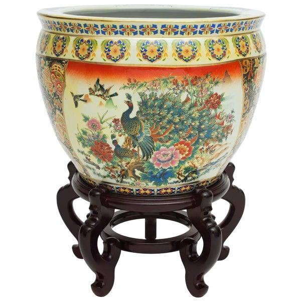 "Handmade 16"" Famille Rose Porcelain Fishbowl. Opens flyout."