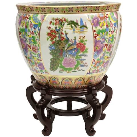 "Handmade 14"" Satsuma Birds and Flowers Porcelain Fishbowl"