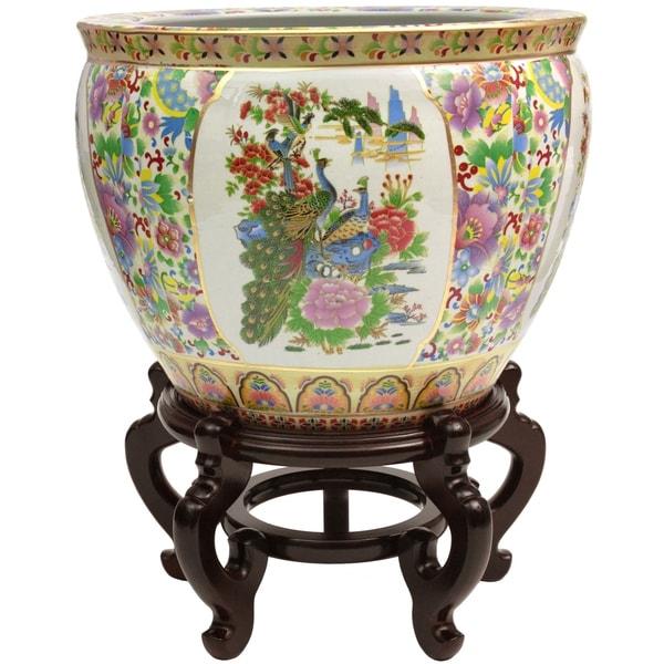 "Handmade 14"" Satsuma Birds and Flowers Porcelain Fishbowl. Opens flyout."