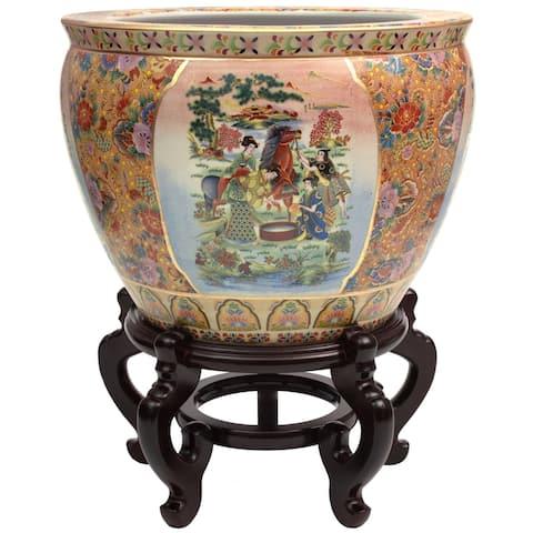 "Handmade 14"" Horse in Meadow Porcelain Fishbowl"