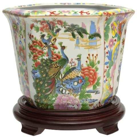 "10"" Satsuma Birds & Flowers Porcelain Flower Pot"