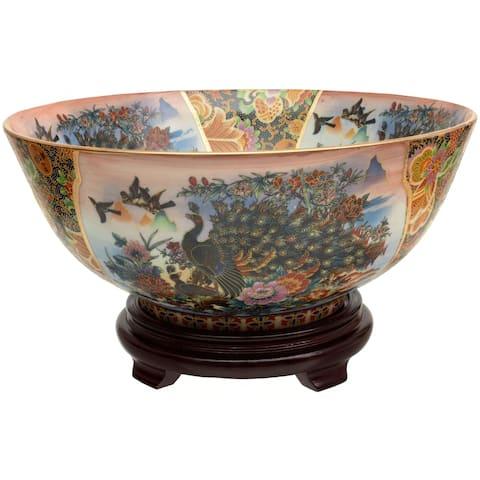 """Handmade 14"""" Satsuma Peacock Porcelain Bowl"""
