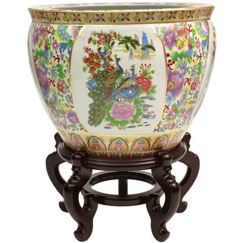 "Handmade 18"" Satsuma Birds and Flowers Porcelain Fishbowl"