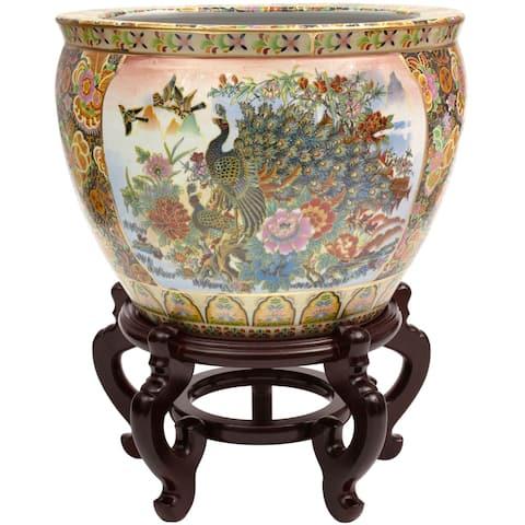 "Handmade 16"" Satsuma Garden and Peacock Porcelain Fishbowl"