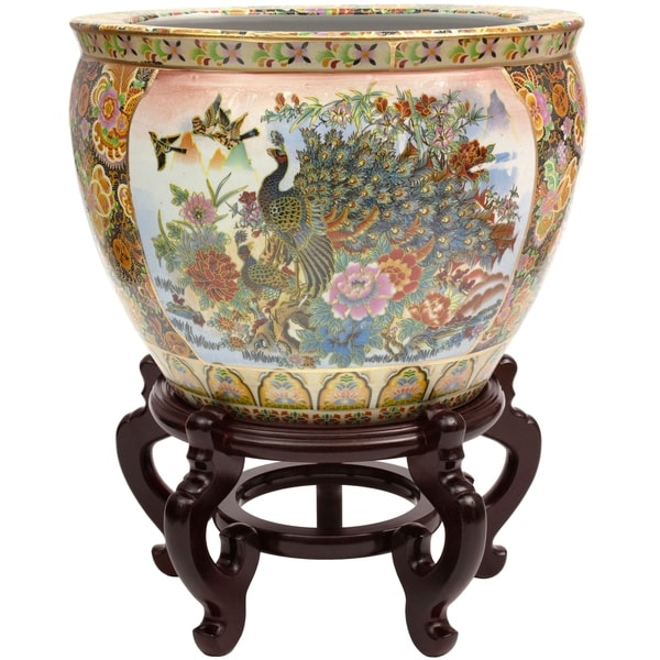 "Handmade 16"" Satsuma Garden and Peacock Porcelain Fishbowl. Opens flyout."