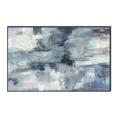 """Epic Graffiti """"In The Clouds Indigo and Grey"""" Framed High Gloss Acrylic Wall Art"""