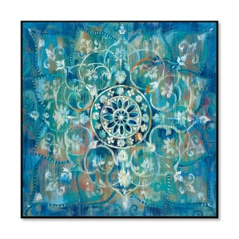 "Epic Graffiti ""Mandala in Blue I"" Framed High Gloss Acrylic Wall Art"