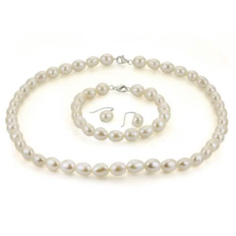 PearLustre by Imperial Sterling Silver Baroque Freshwater Pearl Set