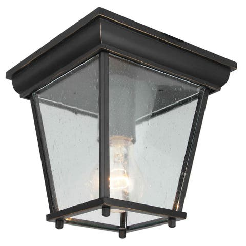 1 Light Outdoor Ceiling Lantern in Imperial Black