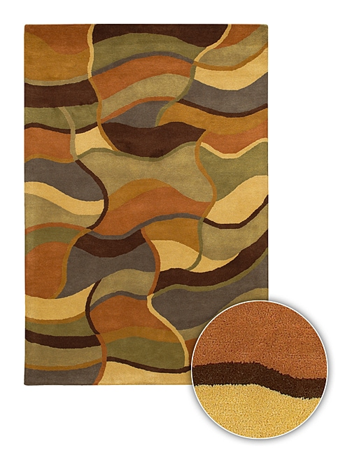 Artist's Loom Hand-tufted Contemporary Geometric Wool Rug - 8' x 11'