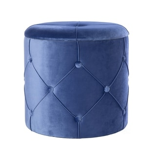 Silver Orchid Conti Round Wooden Velvet Ottoman Stool