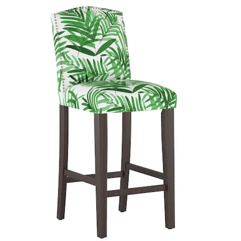 Nail Button Camel Back Bar stool in Cali Palm Green - Bar stool