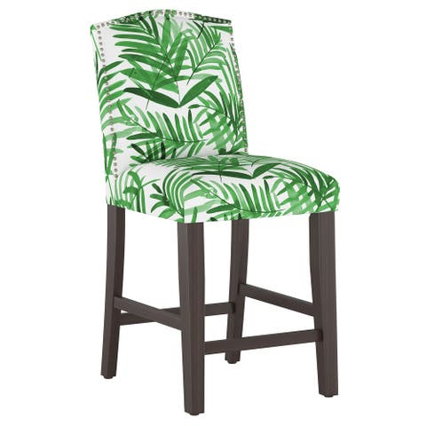 Nail Button Camel Back Counter Stool in Cali Palm Green - Counter stool