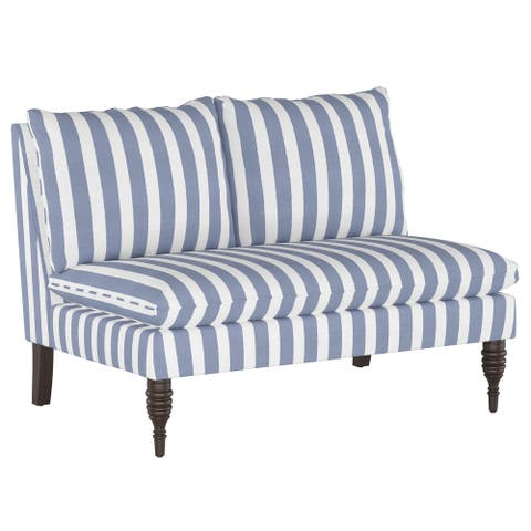 Armless Love Seat in Brush Cabana Icy Blue