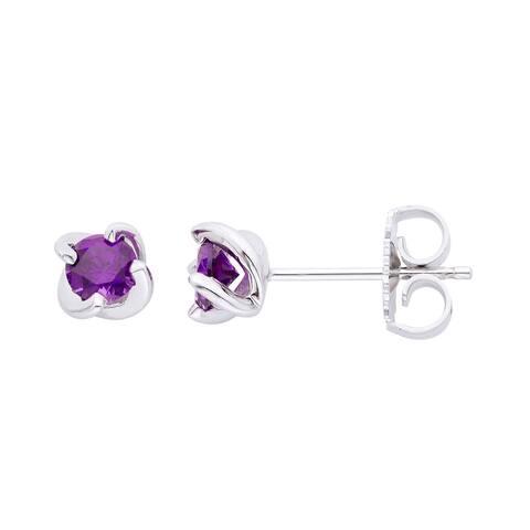 Sterling Silver Birthstone Swirl stud Earrings