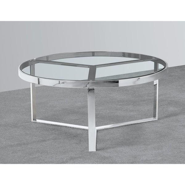 Best Master Furniture Stainless Steel Round Coffee Table