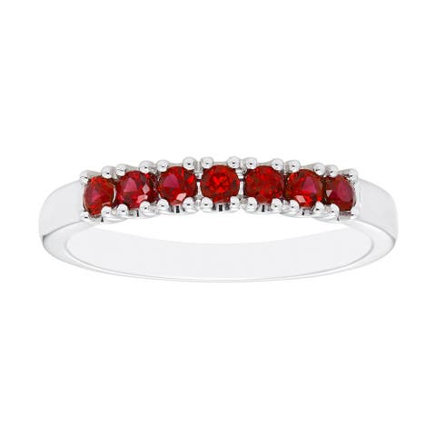 Sterling Silver Created Ruby Birthstone Stacking Ring