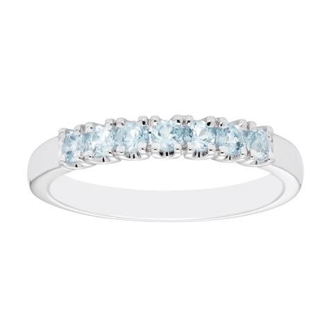 Sterling Silver Aquamarine Birthstone Stacking Ring