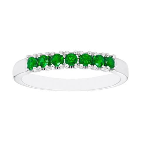Sterling Silver Created Emerald Birthstone Stacking Ring