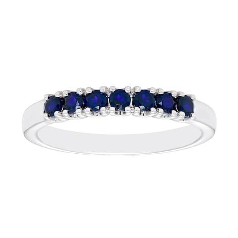 Sterling Silver Created Blue Sapphire Birthstone Stacking Ring