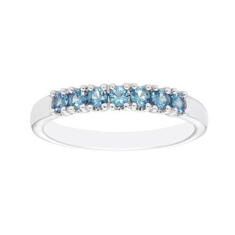Sterling Silver Created Alexandrite Birthstone Stacking Ring