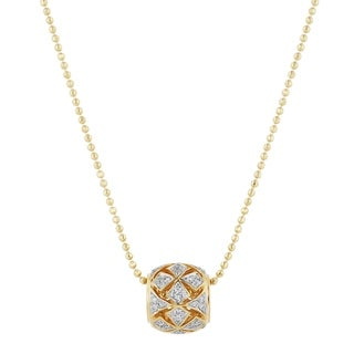 14k Yellow Gold 1 5ct TDW Diamond Bola Necklace By Beverly Hills Charm