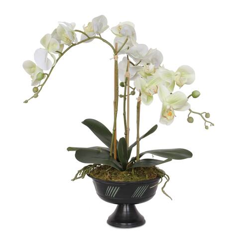Real Touch Cream Green Orchid Flower Arrangement in Metal Urn