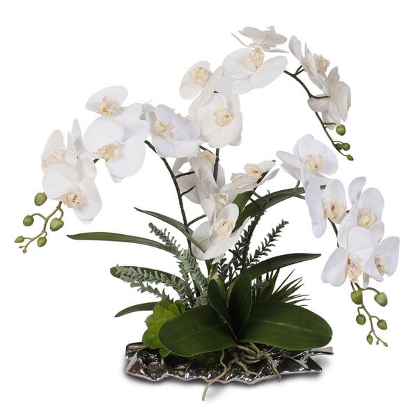 Real Touch Phalaenopsis White Orchids in Silver Leaf Plate