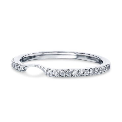 Annello by Kobelli 14k Gold 1/6 Carat TDW Lab Grown Diamond Notched Matching Wedding Band - Annello 61766 Series