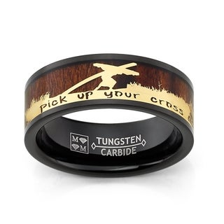 Link to Oliveti Black Tungsten Carbide Band with Wood Inlay Jesus Carrying a Cross Religious Ring Similar Items in Men's Jewelry