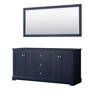 Avery 72-inch Double Vanity, No Top, No Sinks, 70-inch Mirror