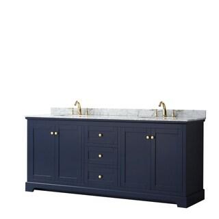 Link to Avery 80-inch Double Vanity, Marble Top, Oval Sinks, No Mirror Similar Items in Bathroom Vanities