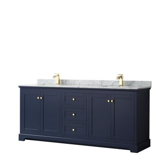 Avery 80-inch Double Vanity, Marble Top, Square Sinks, No Mirror