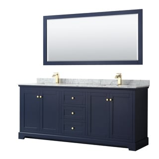 Avery 80-inch Double Vanity, Marble Top, Square Sinks, 70-inch Mirror