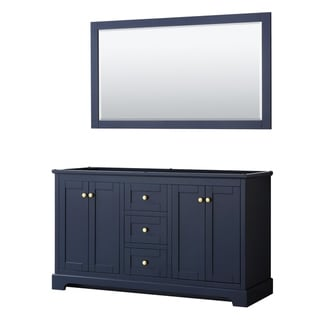 Avery 60-inch Double Vanity, No Top, No Sinks, 58-inch Mirror