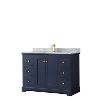 Avery 48-inch Single Vanity, Marble Top, Square Sink, No Mirror