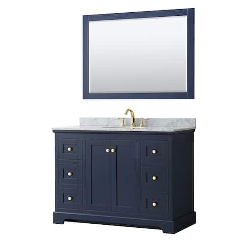 Avery 48-inch Single Vanity, Marble Top, Oval Sink, 46-inch Mirror