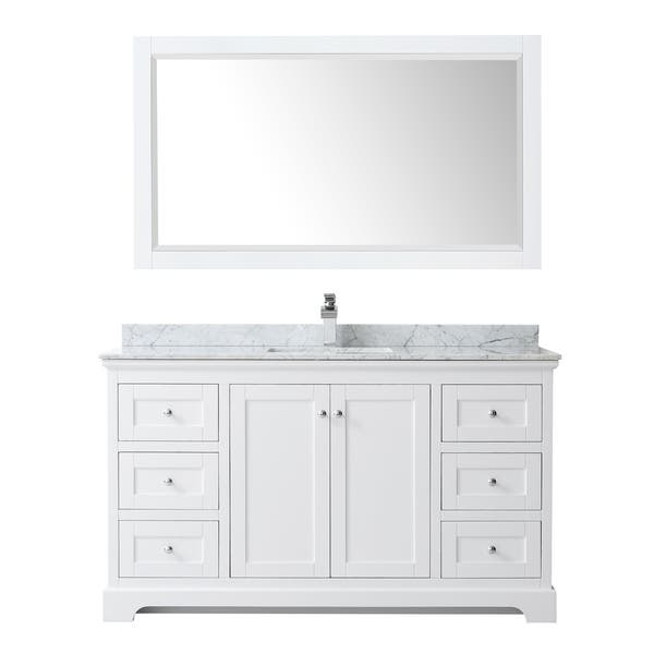 Avery 60 Inch Single Vanity Marble Top Square Sink 58 Inch Mirror Overstock 28870364 White