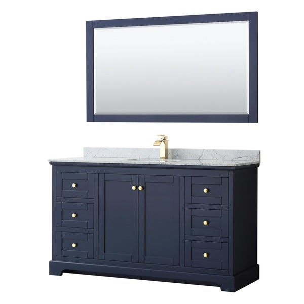 Shop Avery 60-inch Single Vanity, Marble Top, Square Sink ...