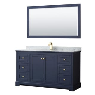 Avery 60-inch Single Vanity, Marble Top, Square Sink, 58-inch Mirror