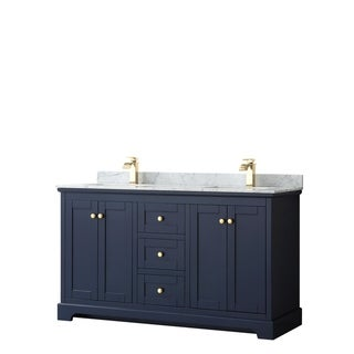 Avery 60-inch Double Vanity, Marble Top, Square Sinks, No Mirror