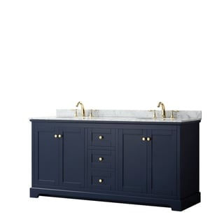 Avery 72-inch Double Vanity, Marble Top, Oval Sinks, No Mirror
