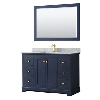 Avery 48-inch Single Vanity, Marble Top, Square Sink, 46-inch Mirror