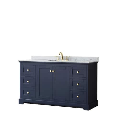 Avery 60-inch Single Vanity, Marble Top, Oval Sink, No Mirror