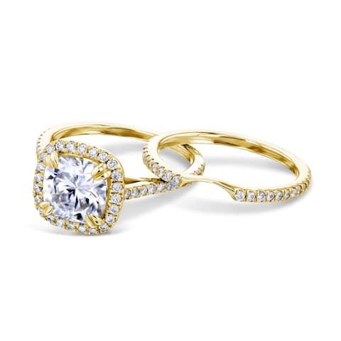 Annello by Kobelli 14k Gold 2 2/5ct Cushion Moissanite and Lab Grown Diamond Halo Bridal Set