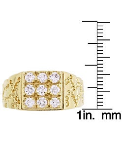 Simon Frank 14k Yellow Gold Overlay Men's Square Cube Ring - Thumbnail 2